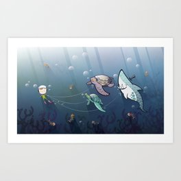 Looking for new friends Art Print