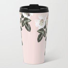 Bees + Blackberries on Pale Pink Travel Mug