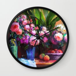 Roses and Aspidistra Plant Wall Clock