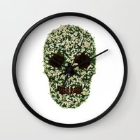 pushing daisies Wall Clocks featuring Pushing up Daisies by Luke Dwyer - Artist