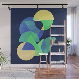 Blue and Green Circles and Triangles Abstract Art Wall Mural