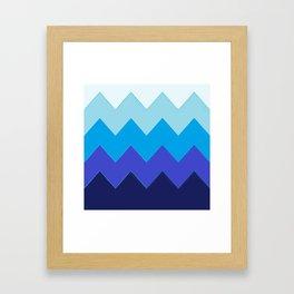 Blue Gradient Waves Framed Art Print