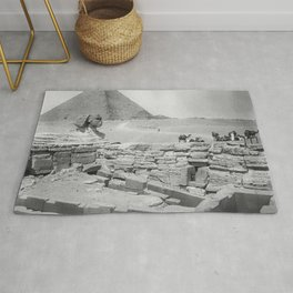 Sphinx, Pyramid, and Ruins, Giza, Egypt black and white photography - black and white photographs Rug