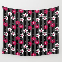 Crimson and white flowers on a black striped background Wall Tapestry