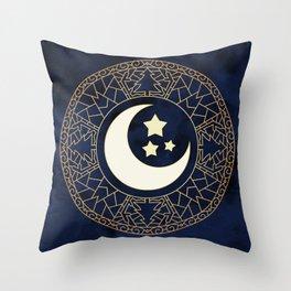MANDALA MOON AND STARS Throw Pillow