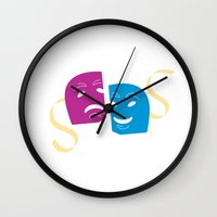 theatre Wall Clocks featuring Theatre Masks by G_Stevenson