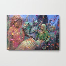 Holi celebrations in India  Metal Print