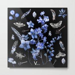 Dark Blue and Red Beetles Metal Print