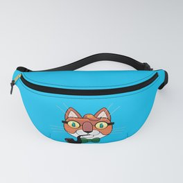 cat writer with a pipe Fanny Pack