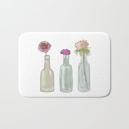 flowers in glass bottles . Pastel colors . Illustration / artwork Bath Mat
