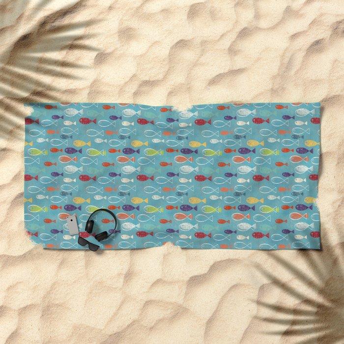 Fish poissons 100 Beach Towel