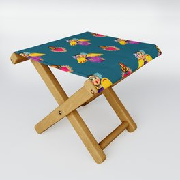 Mexican Angels and Hearts Cerulean Folding Stool