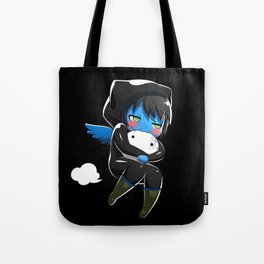 Fuzzy Chibi Luc (Expression 2) w/ Black Background Tote Bag