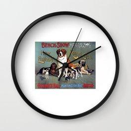 1890 St Bernard Terrier Spaniel Mastiff Greyhound Poster Dog Show Print Wall Clock