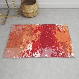 Red Orange Watercolor Rug
