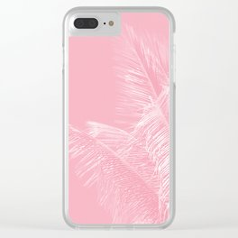 Millennial Pink illumination of Heart White Tropical Palm Hawaii Clear iPhone Case