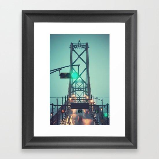 Green Light Bridge Framed Art Print