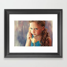 The Confidante - painting of a young girl on the phone Framed Art Print