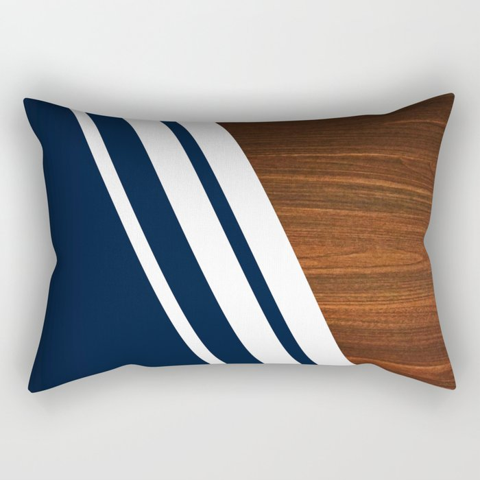 Wooden Navy Rectangular Pillow