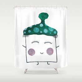 MyHappySquare with a green hat Shower Curtain