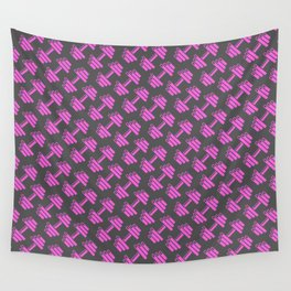 Dumbbellicious PINK GREY Wall Tapestry
