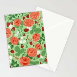 Roses and strawberries on green Stationery Cards