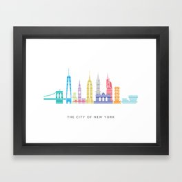 New York Skyline White Framed Art Print