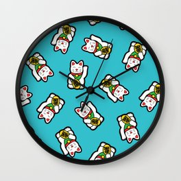 Lucky Cat Pattern Wall Clock