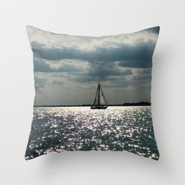 """Lake Erie Sailboat"" photography by Willowcatdesigns Throw Pillow"