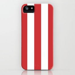 Madder Lake red - solid color - white vertical lines pattern iPhone Case