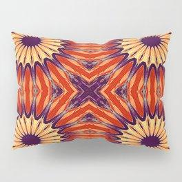 Coral Indigo Pinwheel Flowers Pillow Sham
