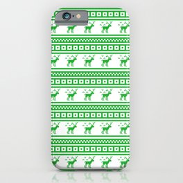 Green Reindeer Christmas Pattern iPhone Case