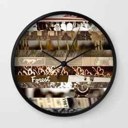 Brown Intersections Wall Clock