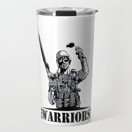 Soldier with rifle and grenade  Travel Mug
