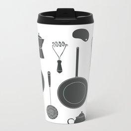 Kitchen Tools (black on white) Metal Travel Mug