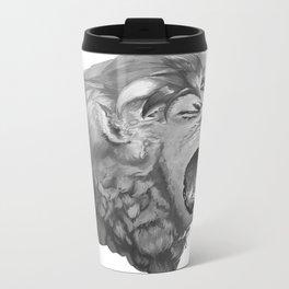 Grayscale Lion Metal Travel Mug
