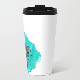 blue mosaik bird Travel Mug