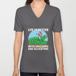 Unicorn Crocodile Alligator Heartbeat Unisex V-Neck