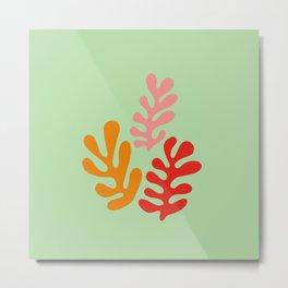 Matisse style art. Fluid Colored leaves. Metal Print