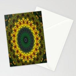 Large Yellow Wildflower Kaleidoscope Art 4 Stationery Cards