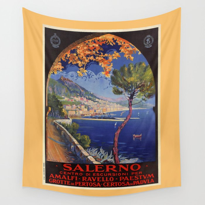 Salerno Italy vintage summer travel ad Wall Tapestry