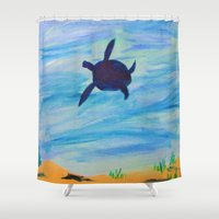 sea turtle Shower Curtains featuring Turtle by Lissasdesigns