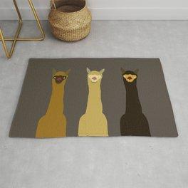 Triple LLAMAS ALPACAS CAMELS - Dark Rug