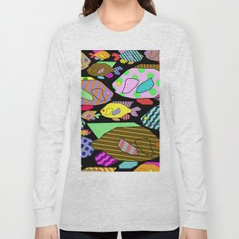 Geometric Fish - Abstract, retro design Long Sleeve T-shirt