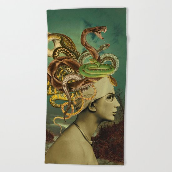 ANOTHER BAD HAIR DAY Beach Towel