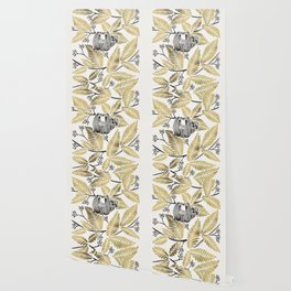 Happy Sloth – Tropical Gold Leaves Wallpaper