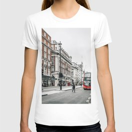Red bus in Piccadilly street in London T-shirt