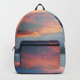 Sunset Over Lake Como Italy Backpack