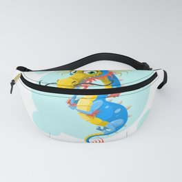 dragon chinese blue mustache china Fanny Pack