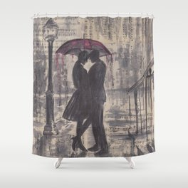 Silouette lovers on rainy street Shower Curtain
